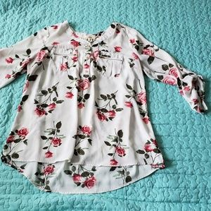3/4 Sleeve Rose Blouse